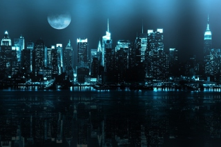 Free City In Moonlight Picture for Android, iPhone and iPad
