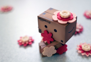 Danbo And Flowers Background for Android, iPhone and iPad