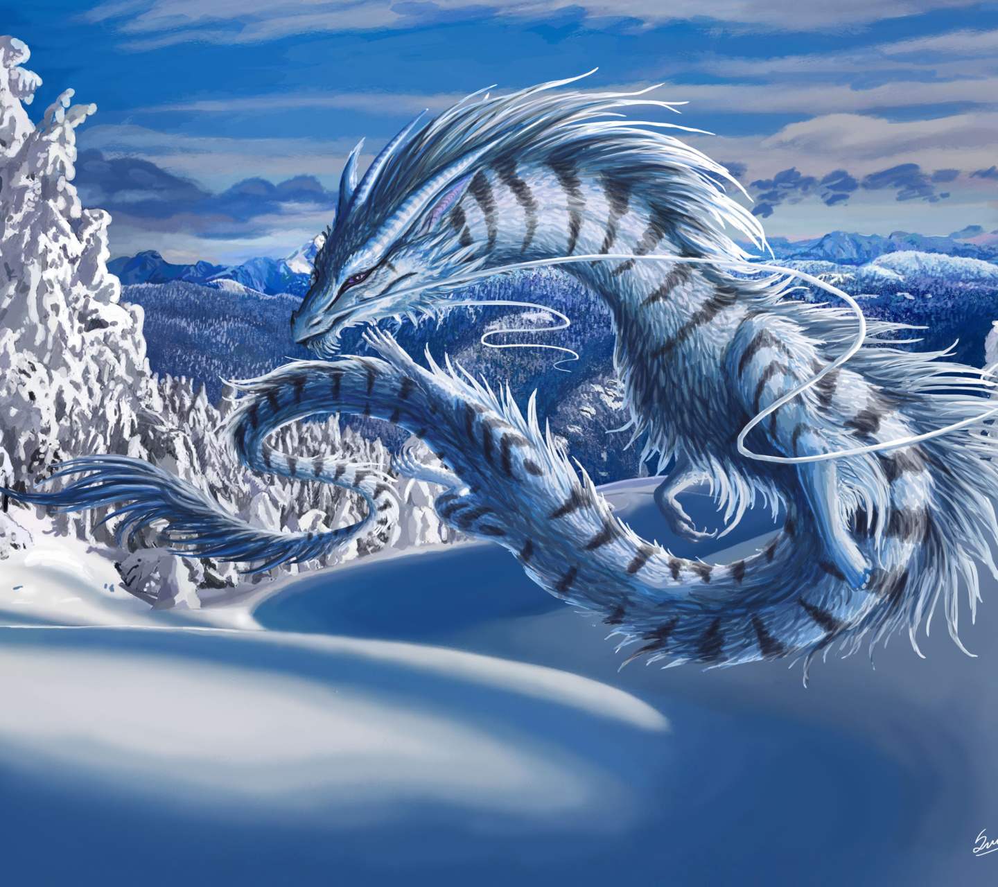 Screenshot №1 pro téma Winter Dragon 1440x1280