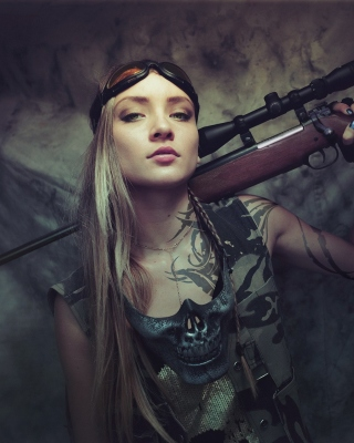 Free Soldier girl with a sniper rifle Picture for Nokia C-5 5MP