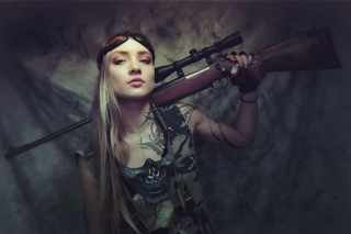 Soldier girl with a sniper rifle Background for 220x176