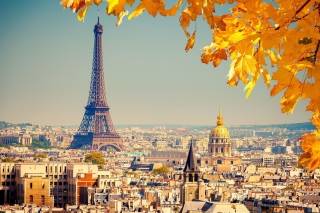 Eiffel Tower Paris Autumn Background for Widescreen Desktop PC 1920x1080 Full HD