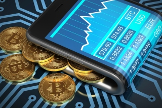 Bitcoin Smartphone Background for Samsung I9080 Galaxy Grand