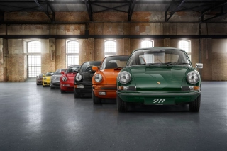 Porsche 911 Vintage Cars in Museum Background for Android, iPhone and iPad