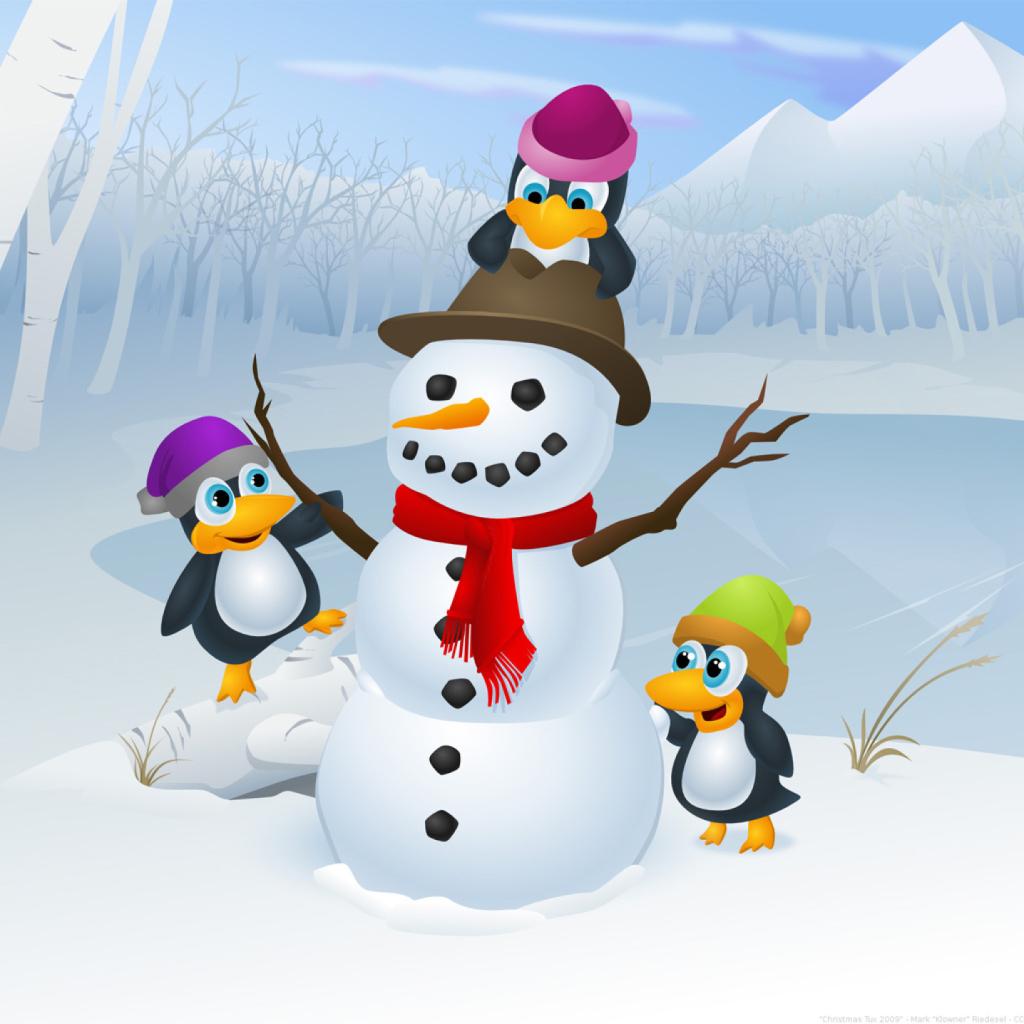 Зимние мультяшки картинки помощью