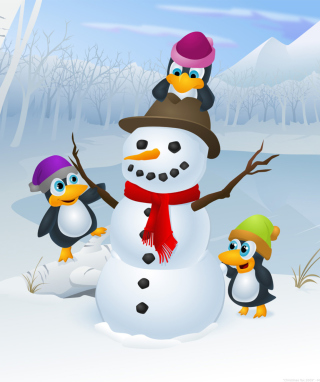 Snowman and Penguin Picture for Nokia Asha 306