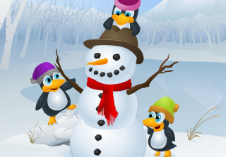Snowman and Penguin Background for Android, iPhone and iPad
