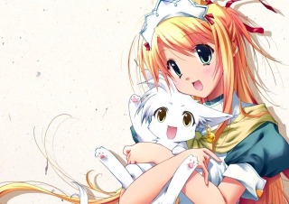 Girl Holding Kitty - Bukatsu Kikaku Wallpaper for Android, iPhone and iPad