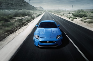 Blue Jaguar XKR Background for Android, iPhone and iPad