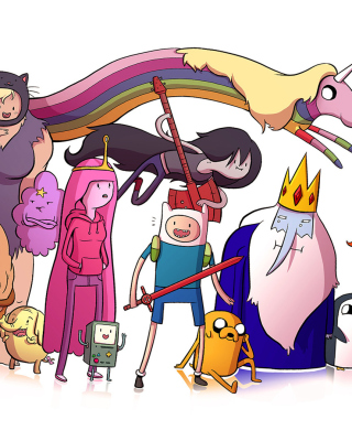 Adventure time, finn the human, jake the dog, princess bubblegum, lady rainicorn, the ice king - Obrázkek zdarma pro Nokia Lumia 800
