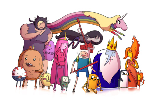 Adventure time, finn the human, jake the dog, princess bubblegum, lady rainicorn, the ice king - Obrázkek zdarma pro Nokia X2-01
