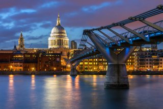 Millennium Bridge, St Paul's Cathedral Background for Android, iPhone and iPad