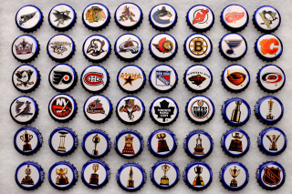 Bottle caps with NHL Teams Logo Wallpaper for Android, iPhone and iPad