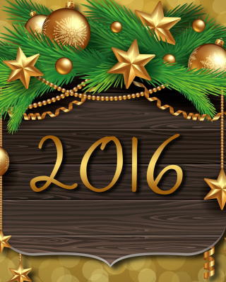 Happy New Year 2016 Golden Style Wallpaper for Nokia Asha 306
