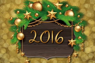 Happy New Year 2016 Golden Style Background for Android, iPhone and iPad
