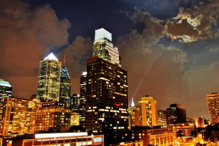 Philadelphia Night Skyline in USA sfondi gratuiti per cellulari Android, iPhone, iPad e desktop