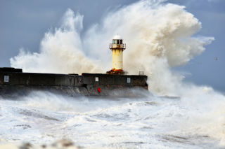 Free Crazy Storm And Old Lighthouse Picture for LG Optimus U