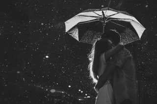 Black And White Rain Hug Picture for Android, iPhone and iPad