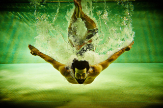 Swimming Pool Jump Picture for Android, iPhone and iPad