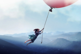 Girl Flying With Magic Balloon Wallpaper for Android, iPhone and iPad