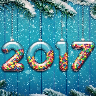 Happy New Year 2017 on Snowfall Texture - Obrázkek zdarma pro iPad Air