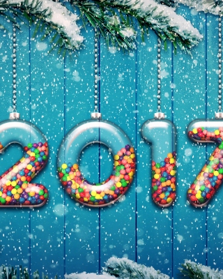 Happy New Year 2017 on Snowfall Texture - Obrázkek zdarma pro iPhone 6