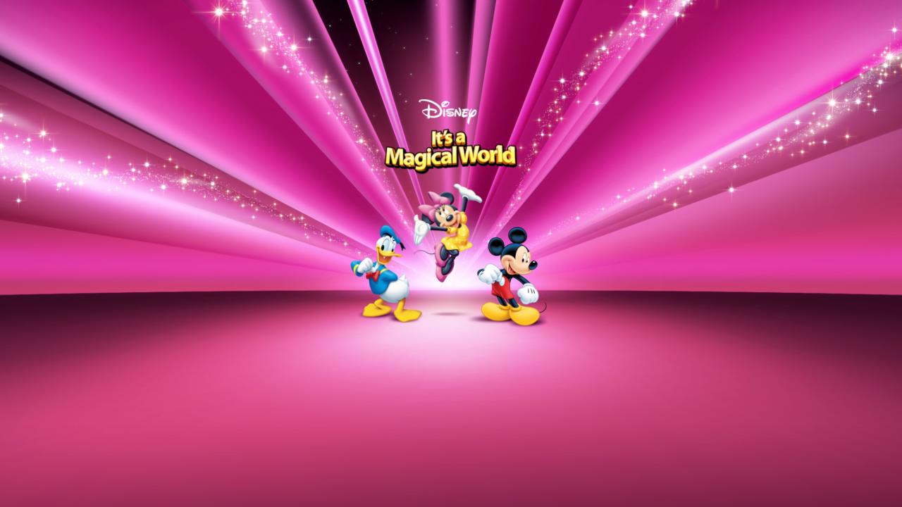 Disney Characters Pink Wallpaper