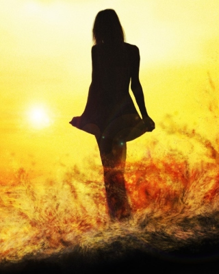 Free Girl Silhouette on Sunset Picture for iPhone 4S