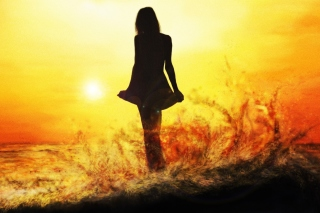 Girl Silhouette on Sunset Picture for Android, iPhone and iPad