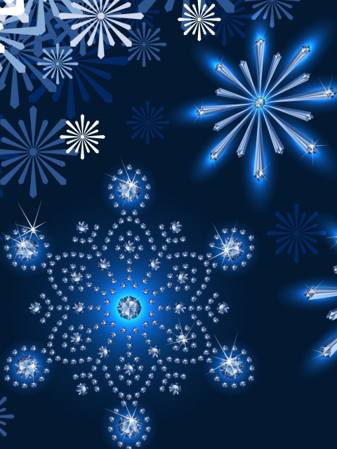 Snowflakes Ornament wallpaper 480x640