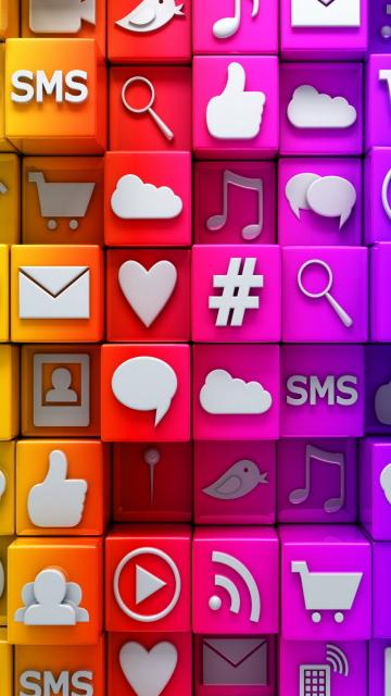 Social  Media Icons: SMS, Blog para Nokia 5230