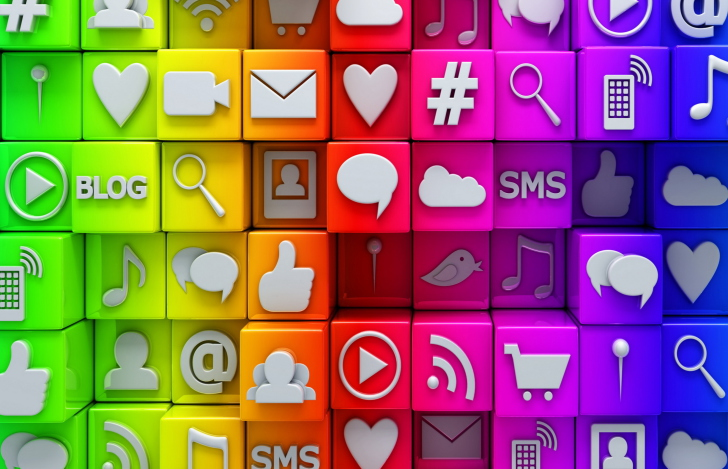 Social  Media Icons: SMS, Blog wallpaper
