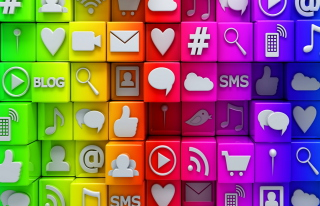 Social  Media Icons: SMS, Blog Wallpaper for Android, iPhone and iPad