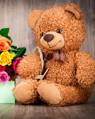 Kostenloses Valentines Day Teddy Bear with Gift Wallpaper für 480x800