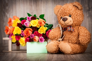 Valentines Day Teddy Bear with Gift Background for 320x240