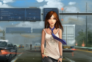 Girl In Tie Walking On Road Picture for Android, iPhone and iPad