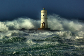 Free Ocean Storm And Lonely Lighthouse Picture for LG Optimus U