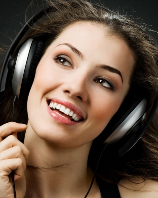 Girl in Headphones Background for 240x320