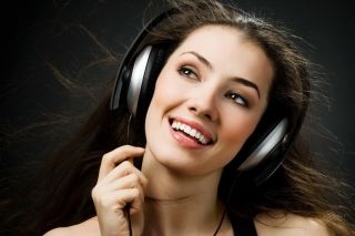 Girl in Headphones Background for Android, iPhone and iPad