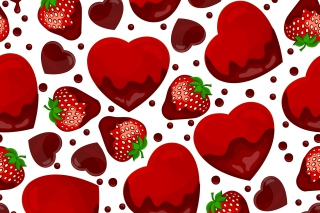 Strawberry and Hearts Background for Android, iPhone and iPad