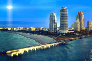 Miami Beach with Hotels Wallpaper for Android 480x800