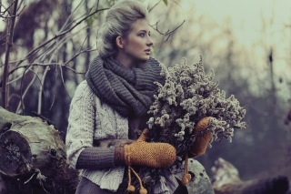 Girl With Winter Flowers Bouquet Background for Android, iPhone and iPad
