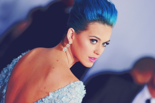 Katy Perry Blue Hair Wallpaper for Android, iPhone and iPad