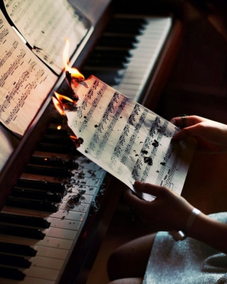 Sheet Music in Fire Wallpaper for Nokia Asha 306