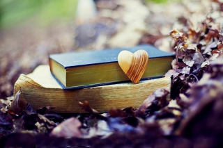 Yellow Heart And Vintage Books Picture for Android, iPhone and iPad