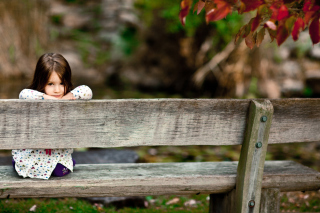 Child Sitting On Bench Picture for Android, iPhone and iPad
