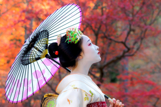 Japanese Girl with Umbrella Background for Android, iPhone and iPad