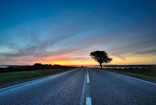 Sunset Over Road Wallpaper for Android, iPhone and iPad