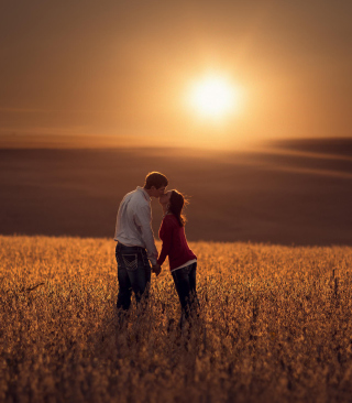 Couple Kissing In Field papel de parede para celular para 240x320