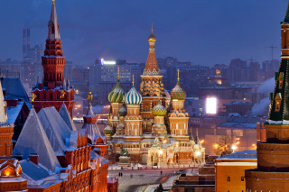 Moscow Winter cityscape Background for Android, iPhone and iPad